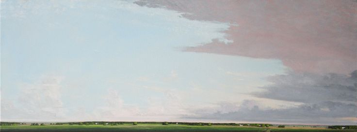 """AUGUST EVENING, COLD FRONT, Oil on Canvas, 18 x 50"""", framed: 19 1/4 x 51"""""""