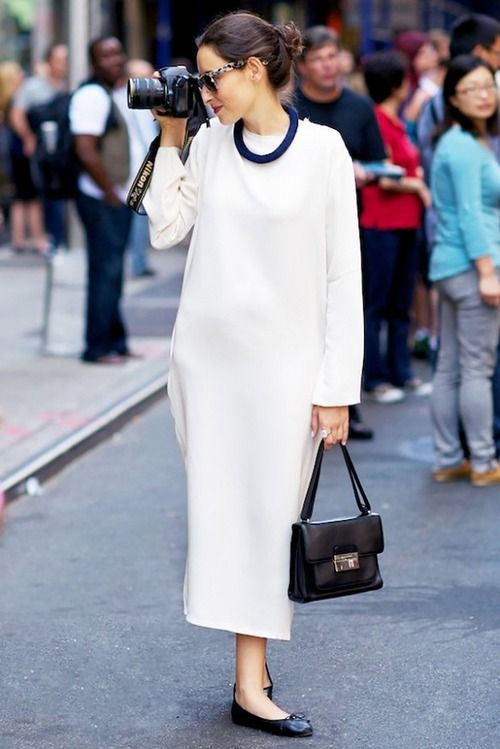 White Smock Dress and Camera   Street Style