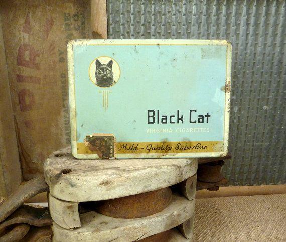 Farmhouse Antique // Tobacco Tin // Black Cat Tin by RedCatReclaim, $9.95