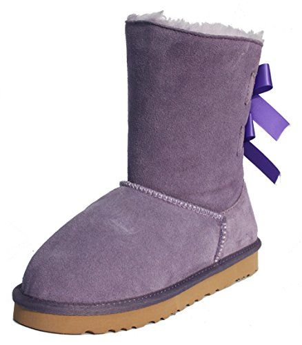 LUXEHOME Women's Winter Leather Butterfly Style Snow Ankle Boots (6 US, Purple) *** Find out more about the great product at the image link.
