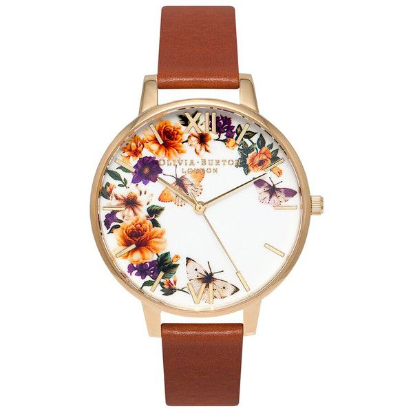 Olivia Burton Women's Flower Festival Watch - Tan/Gold ($115) ❤ liked on Polyvore featuring jewelry, watches, flower jewellery, yellow gold jewelry, yellow gold watches, gold wrist watch and flower watches