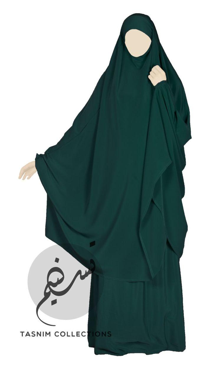 2-del jilbab Mörk smaragd