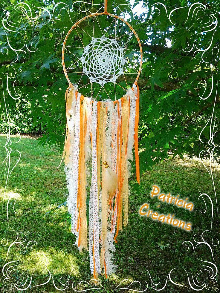 ° Grand Attrape Rêves Déco Fait Main ° Dreamcatcher ° Plume ° Crochet ° Dentelle…
