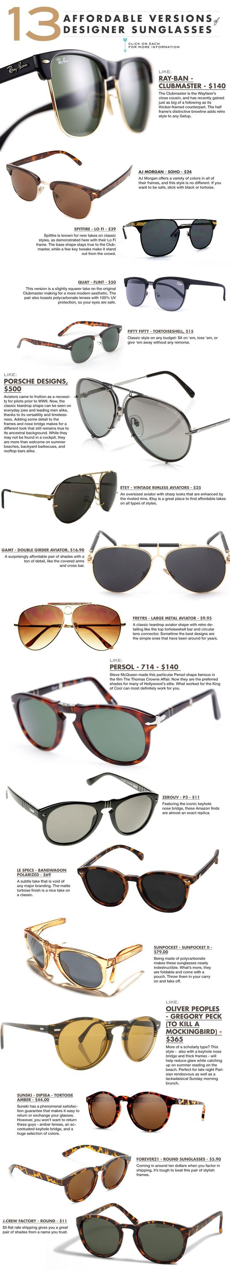 affordable versions of designer sunglasses