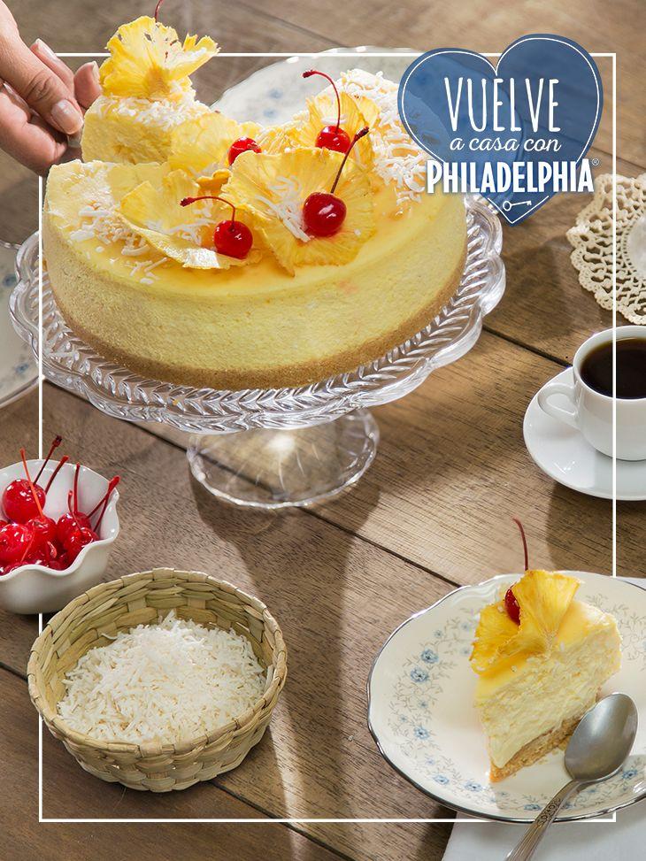 Te toca presumirles a tus amigas la nueva receta de Cheesecake que aprendiste con Philadelphia.   #recetas #quesophiladelphia #cheesecake #piñacolada #cerezas #postre #café #recetas #recetasdulces