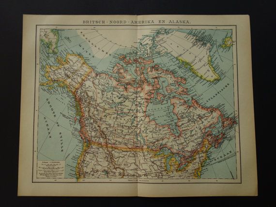 CANADA antique map of Canada and Alaska  by VintageOldMaps on Etsy
