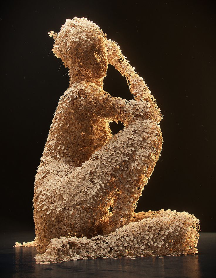 jean-michel bihorel forms flower figures from dried hydrangea blooms