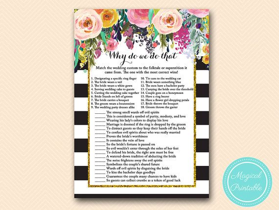 Why do we do that? - Match the wedding customs in the folktale or superstition it came from. The one with the most correct wins.  This Item is Instant Download (Digital File), so you will receive a download link for your purchased file/s within 5 minutes - You can access your files from your purchase account - https://www.etsy.com/your/purchases  For Printing service: https://www.etsy.com/au/listing/499374163/   WHAT IS INCLUDED:  1) Prin...