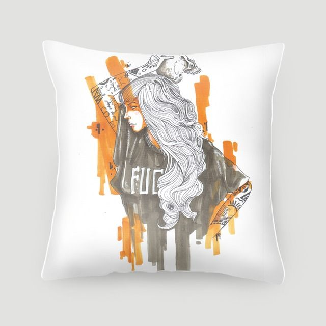 Pillow 40x40 cm (with insert) | Careless by Agraworks | Made from canvas linen, stuffed with dacron fill, and finished with concealed zipper. Pillow covers are available on their own or with pillow filling. #pillows #cushions #arts #prints #etsy #artwork #gift #design #home #decor #love #interior #trends #unique #photography #ideas #photo #inspiration #diy