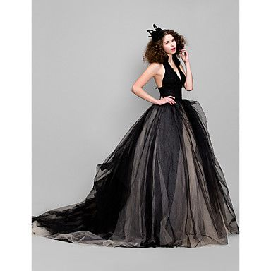 Ball Gown V-neck Court Train Tulle Evening Dress – USD $ 169.99