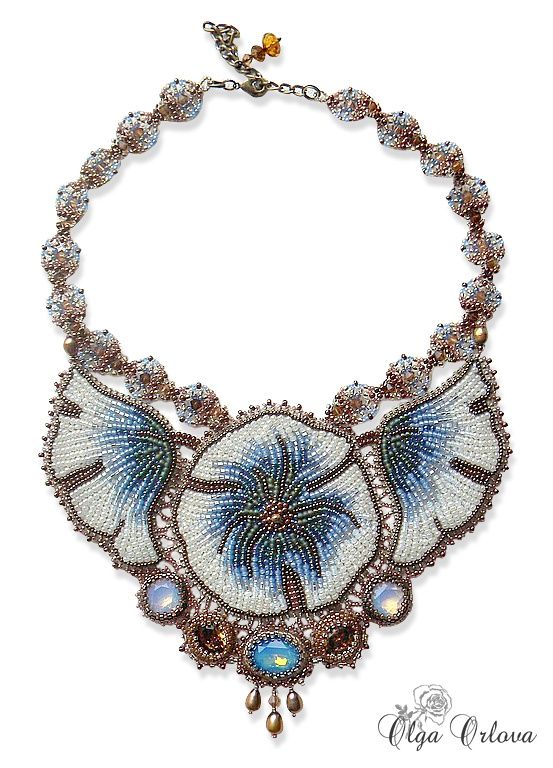 Blue Flowers Necklace with Swarovski crystals