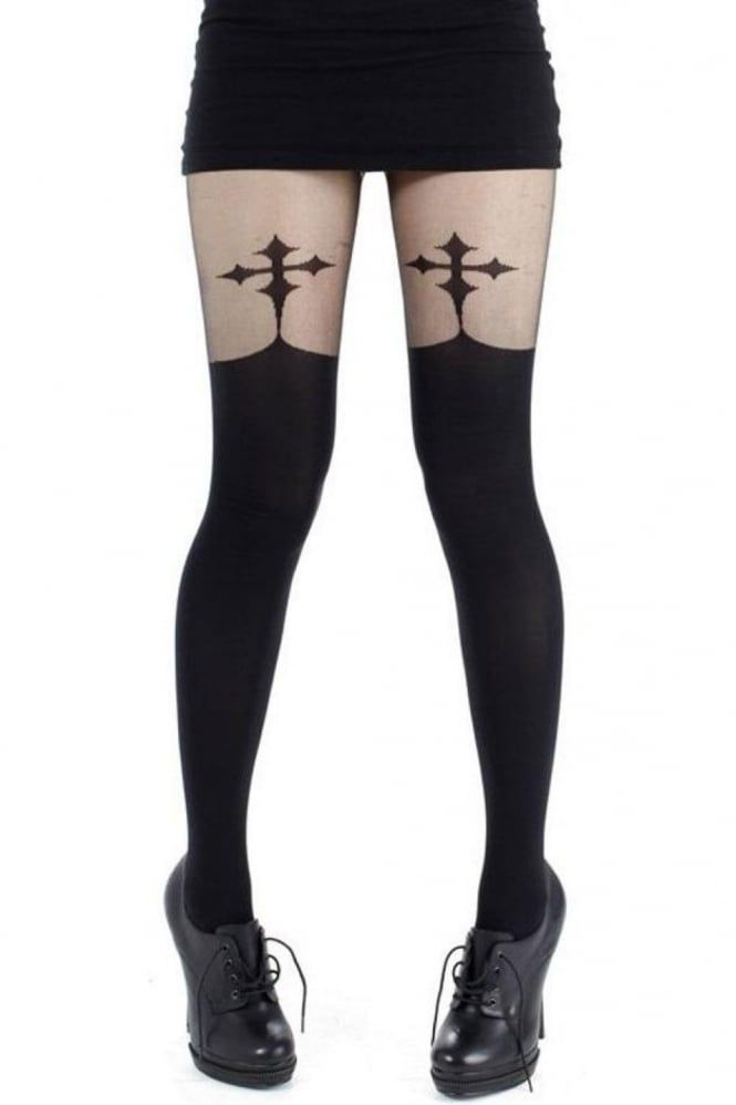 cb106f0a31d Pamela Mann Goth Cross Suspender Tights in 2019
