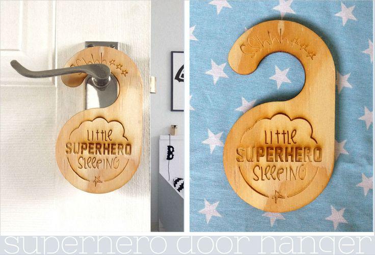 Sshhh... Little Superhero sleeping Do not disturb baby wooden door hanger. https://www.facebook.com/MoomaDecor