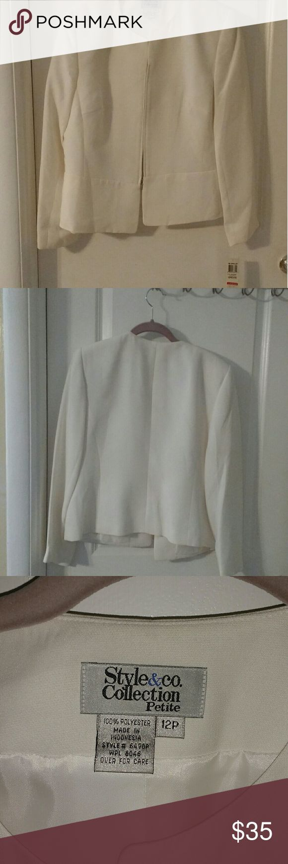 Style & Co Dressy Jacket NWT Off White Jacket, New with Tags, kept in suit bag for protection Style & Co Jackets & Coats Blazers