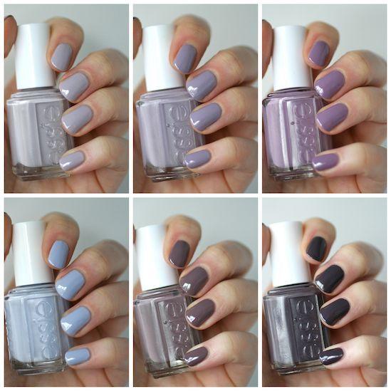 Essie Grey-Purples Comparison : Lilacism, Love & Acceptance, Bangle Jangle, Warm & Toasty Turtleneck, Merino Cool & Smokin' Hot