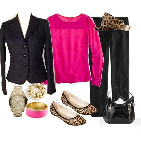 Black suit with bright pink blouse and leopard accessories.4 4 12, Polyvore, Shopmurphi, 4412