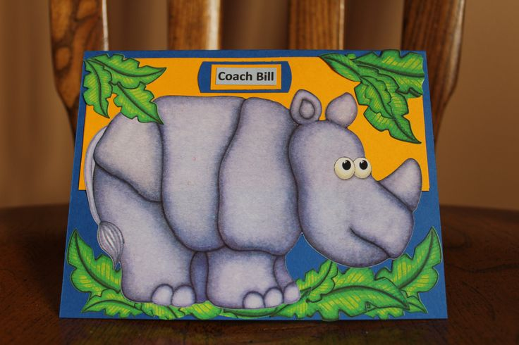 Rhino wrestling card - Handmade - Middle River Wrestling - Baltimore Md. This Rhino was seen at the Middle River wrestling match, he pinned a lot of wrestlers to their backs.... For Coach Bill H.- Coaching for 45 years. Feb. 2015 ( Rhino sticker from the dollar store) Card by Glenda Jae