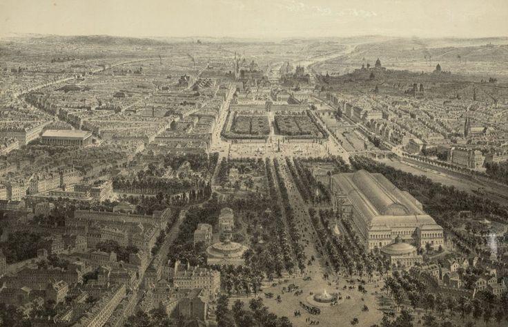 Paris vu en 1860, vue à vol d'oiseau, prise au-dessus du rond-point des Champs-Elysées, estampe. Bibliothèque nationale de France