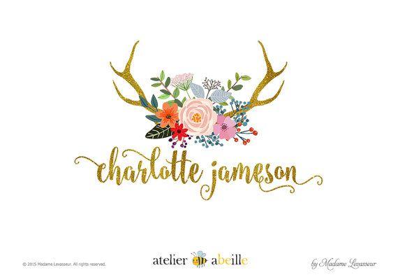 custom floral logo design rustic vintage deer by atelierabeille