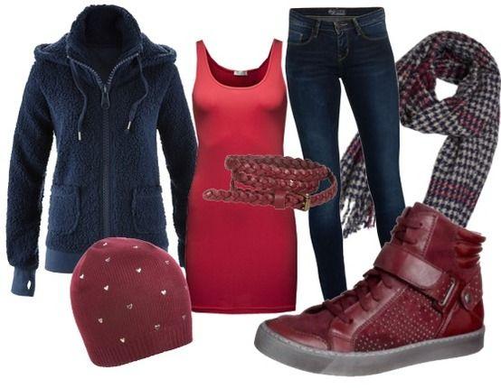 warm rood, warm blauw vest, perfect voor een luie zondag