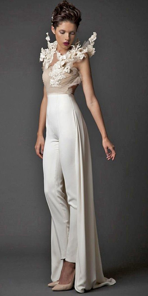 wedding pantsuit via krikor jabotian / http://www.deerpearlflowers.com/wedding-pantsuits-and-jumpsuits-for-brides/