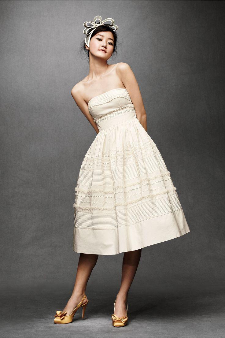 Cotton Strapless Boned Bodice Knee-Length Wedding Dress | Short ...