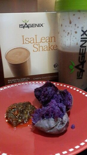 My breakfast this morning Deutch  Chocolate  Isalean Shake and baked ube #latepost