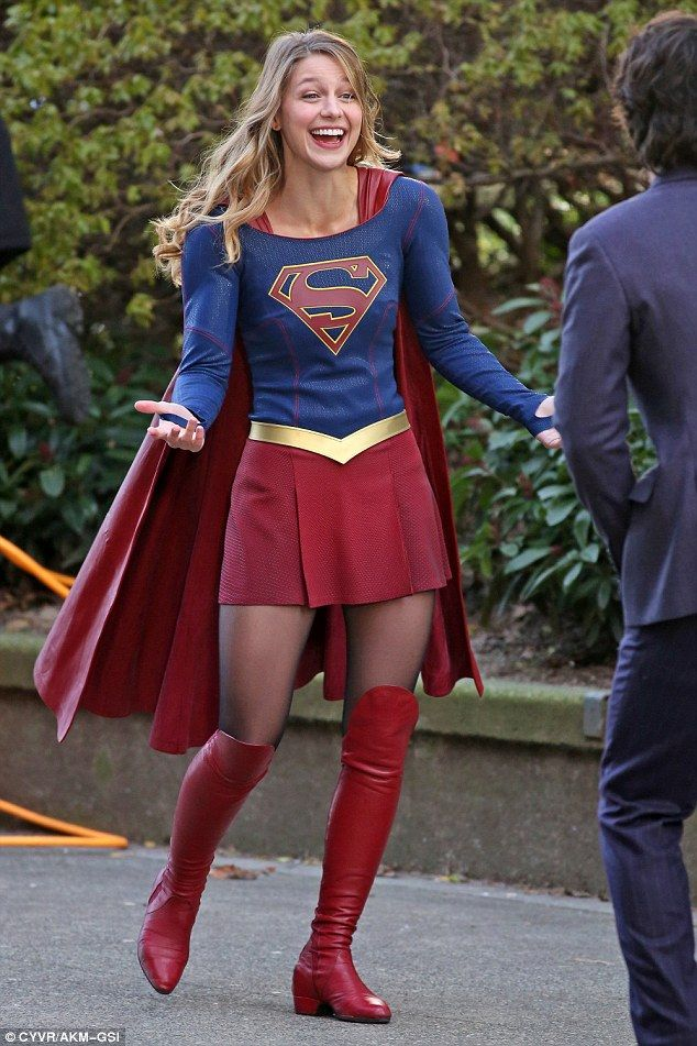 She's so happy: Melissa Benoist seemed completely immune to the cold, like her Superwoman character, as she filmed in Vancouver where the thermometer barely hit 36F on Thursday