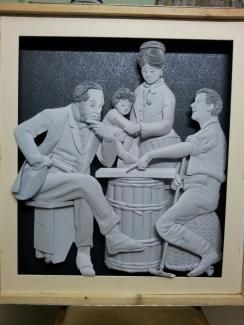 Buy paintings - chess at farm house , Paper Carving Art in Atgom Arts