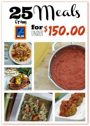 Make 25 meals for under $150.00 at Aldi. This meal planning pack comes with a printable shopping list, meal planning calendar, and recipes! by R&M