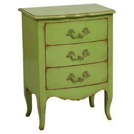 Add character to your bedside or study with this pine wood chest, featuring three drawers and a green finish. Team with a damask print lamp and vibrant afghan bedspread to create an eclectic bedroom scheme.  Product: Bedside drawersConstruction Material: Pine woodColour: GreenFeatures:  Three drawersDimensions: 77 cm H x 58 cm W x 38 cm D