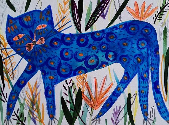 Katze Katze Zeichnung Malerei Kunst  Blau Katze  Natur