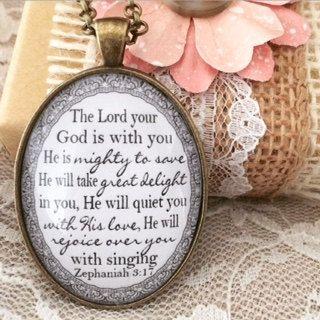 Zephaniah 3:17 Pendant Necklace by RedeemedJewelry on Etsy