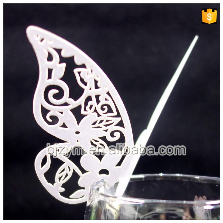 Flower butterfly paper Wedding Birthday Festive & Party Supplies laser cut Place Name Cards Glass Cup Card with fast delivery
