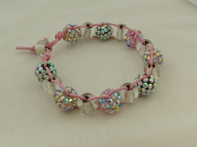 Sparkly Shamballa Bead Clear Bead and Pink Cord Bracelet £7.50