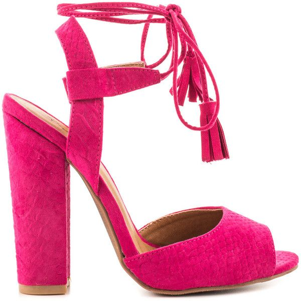 Qupid Women's McKenna - Fuchsia Snake (205 PEN) ❤ liked on Polyvore featuring shoes, pink, strappy high heel shoes, fuchsia shoes, block high heel shoes, tie shoes and snake shoes