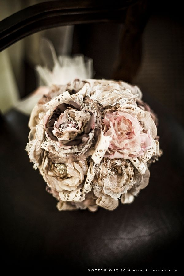 Rustic fabric & lace bouquet. www.lindavos.co.za