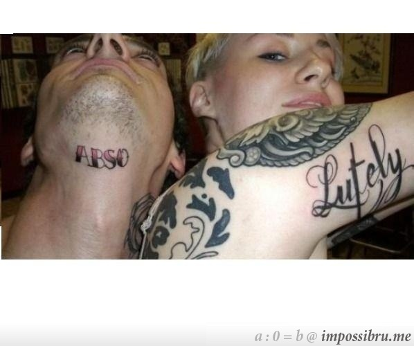 Boyfriend & Girlfriend tattoo.... weird choice of words? And placement? And... overall thought process. But hey, to each his own.