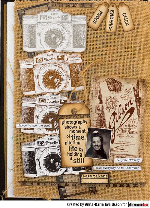 A Moment in Time Journal Page Tutorial by Anna-Karin Evaldsson. Made with Darkroom Door stamps, in a Ranger Dina Wakley Media Journal.
