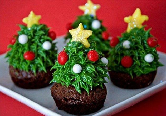 Receita de sobremesa de Natal: Christmas Food, Christmas Desserts, Brownies Recipes, Christmas Recipes, Christmas Dinners Recipes, Christmas Trees, Cups Cakes, Christmas Cupcakes, Cupcakes Rosa-Choqu