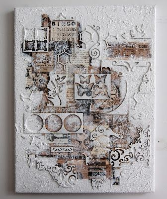 Ingrid's place. Papers, diecut scraps, gesso and colour
