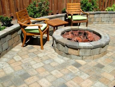 Backyard Patio with Firepit | Western Interlock... Like these pavers