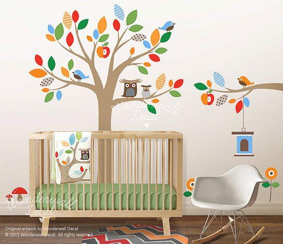 Skip Hop Bedding Owl Apple Tree Wall Decal Owl By WonderwallDecal, $135.00