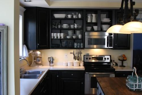 dtira: Whimages http://www.whimages.blogspot.com  Painted black (Beluga by Behr) outdated oak ...