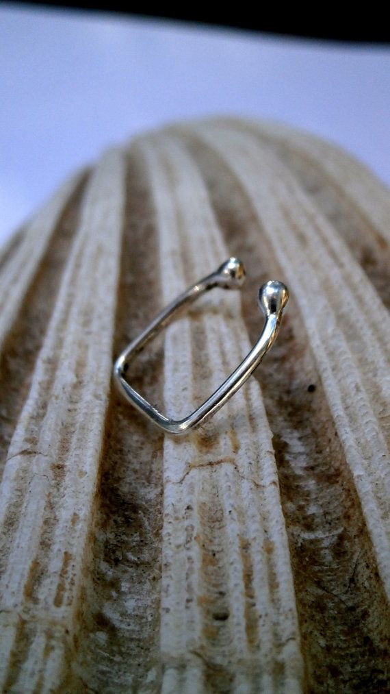 Square Fake Piercing Earring  Sterling by JewelryByKonstantis