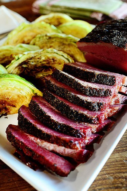 Corned Beef & Cabbage from Pioneer Woman.  Corn beef in oven and seared, then steamed cabbage with balsamic reduction
