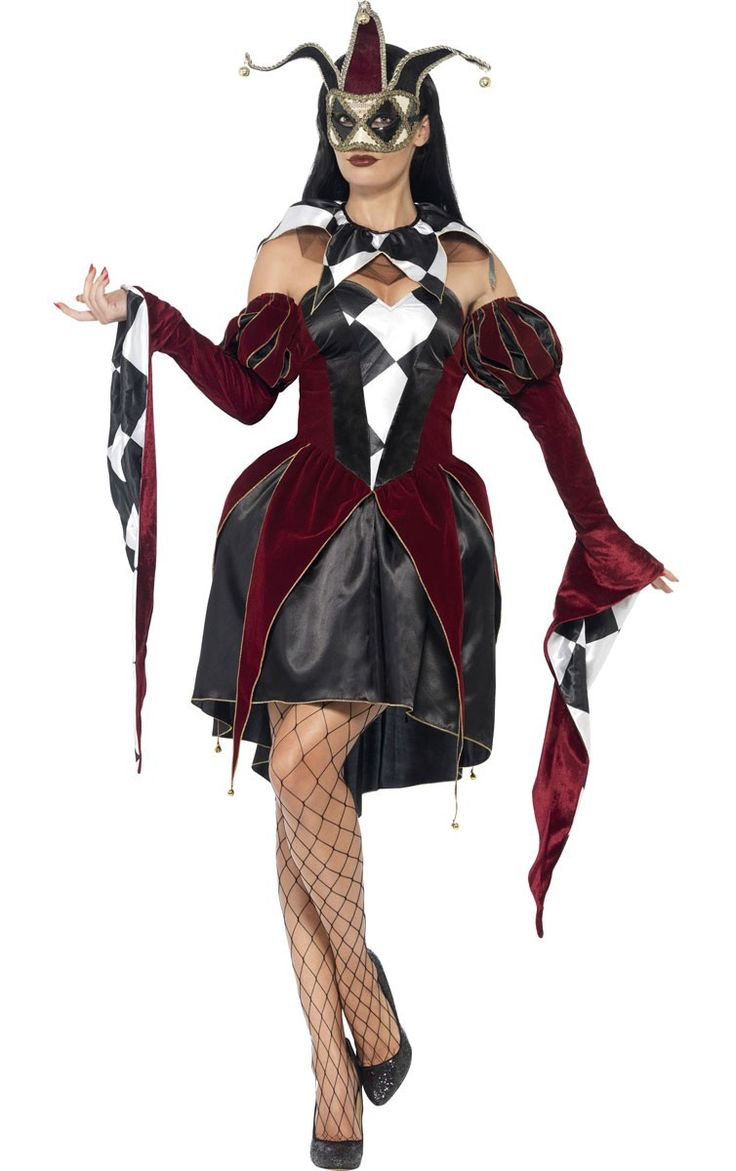 Welcome to the Carnival of the Damned! Run away and join the circus this Halloween in this Gothic Harlequin women's costume by Smiffy's. You'll be cracking the very darkest of jokes. Also a great Jester sexy costume for a masquerade themed event. See below for full description and size details.