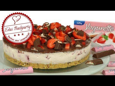 Yogurette-Erdbeer-Torte / Yogurettentorte / Erdbeertorte / Sommertorte / No Bake / Evas Backparty - YouTube