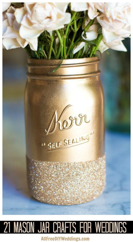 Mason jar crafts wedding - 21 Incredibly Gorgeous Mason Jar Crafts For Your Wedding Diy Wedding Decorations Can Still Be