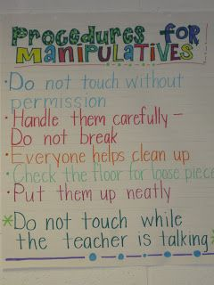 PROCEDURES for math manipulatives... from Ashley's Education Journey (blog)
